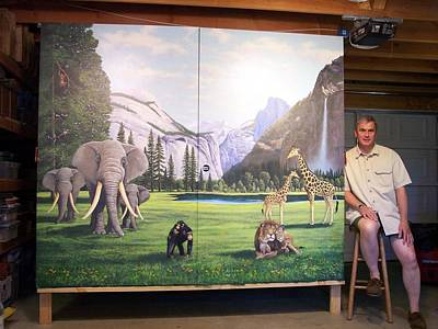 Yosemite Painting - Yosemite Dreams Mural by Frank Wilson