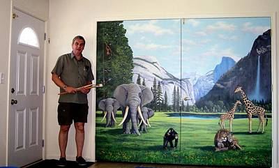 Chimpanzee Painting - Yosemite Dreams Mural On Doors by Frank Wilson