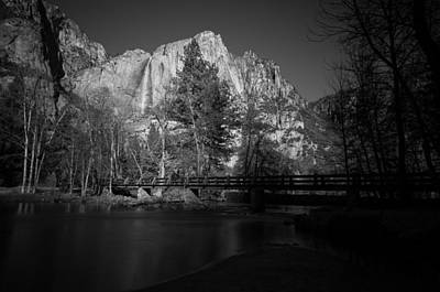 Yosemite Falls Along The Merced River Black And White Print by Scott McGuire