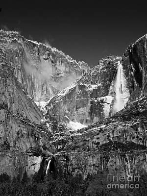 Winter Animals - Yosemite Falls in Black and White II by Bill Gallagher