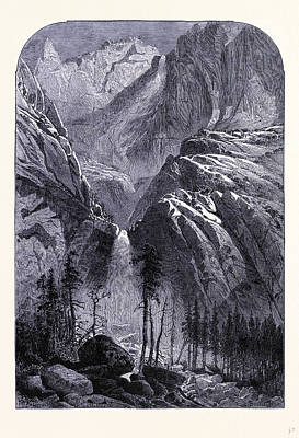 Yosemite National Park Drawing - Yosemite Falls United States Of America by American School