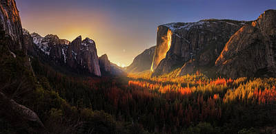 Mountain Valley Photograph - Yosemite Firefall by Yan Zhang