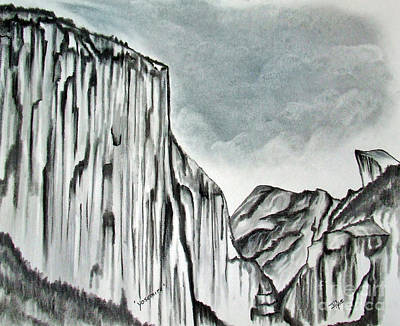 Tourist Attraction Drawing - Yosemite In Charcoal by Janice Rae Pariza
