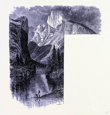 Yosemite National Park Drawing - Yosemite National Park Half Dome And The Miriad River by American School