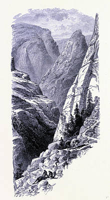 Yosemite National Park Drawing - Yosemite National Park The Merced Chasm United States by American School