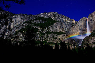 Photograph - Yosemite National Park Waterfall And Moonbow by John McGraw