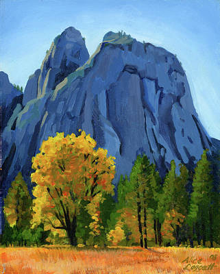National Parks Painting - Yosemite Oaks by Alice Leggett