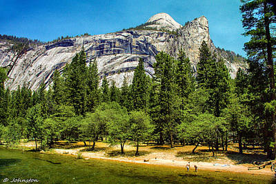 Painting - Yosemite Valley Along Yosemite River Beach by Bob and Nadine Johnston