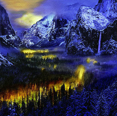 Photograph - Yosemite Valley At Night by Bob and Nadine Johnston