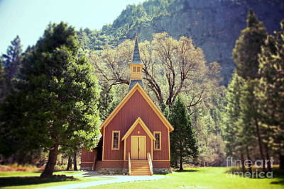 Religious Charm Photograph - Yosemite Valley Chapel Lomo by Jane Rix