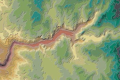 Yosemite National Park Digital Art - Yosemite Valley Contour Map by Paul Hein
