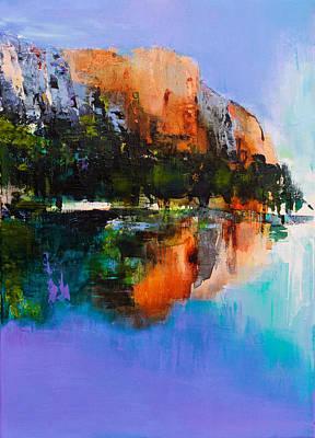 Landmarks Painting Royalty Free Images - Yosemite Valley Royalty-Free Image by Elise Palmigiani