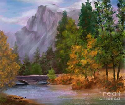 Painting - Yosemite Valley Half Dome by Judy Filarecki