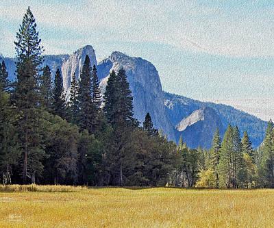 Digital Art - Yosemite Valley Meadow View by Jim Pavelle