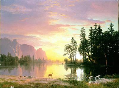 Photograph - Yosemite Valley Oil On Canvas by Albert Bierstadt