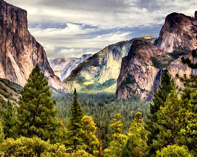 Cathedral Rock Painting - Yosemite Valley Painting Tunnel View by Bob and Nadine Johnston