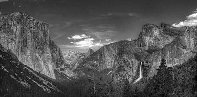 Photograph - Yosemite Valley Panorama Bw by Morgan Wright