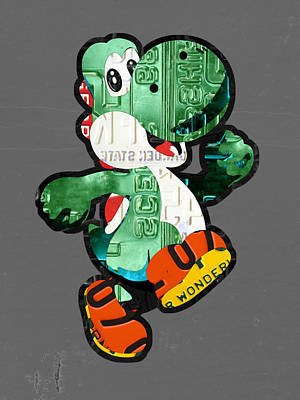 Yoshi From Mario Brothers Nintendo Recycled License Plate Art Portrait Art Print