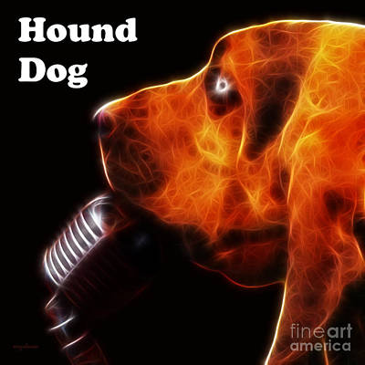 Photograph - You Ain't Nothing But A Hound Dog - Dark - Electric - With Text by Wingsdomain Art and Photography