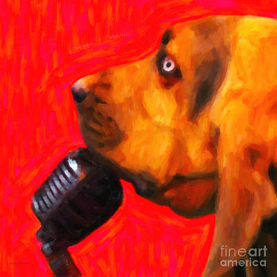 You Ain't Nothing But A Hound Dog - Red - Painterly Art Print by Wingsdomain Art and Photography
