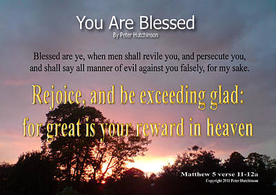 You Are Blessed Print by Bible Verse Pictures