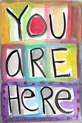 Map Painting - You Are Here  by Linda Woods