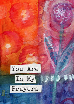 Red Rose Painting - You Are In My Prayers- Watercolor Art Card by Linda Woods