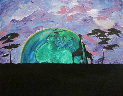 Mother And Baby Giraffe Painting - You Are My World by Amanda Roberts