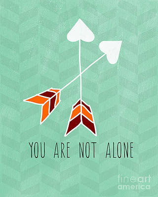 Arrow Painting - You Are Not Alone by Linda Woods