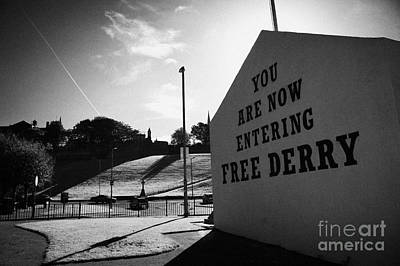 you are now entering free derry gable wall painting at free derry corner in the bogside area of Derry Londonderry Art Print