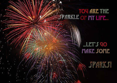 Brilliant Fireworks Painting - You Are The Sparkle Of My Life  Let Us Go Make Some Sparks by Eve Riser Roberts