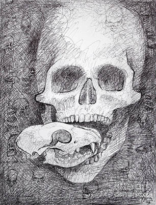 You Are What You Eat Skull Drawing Original by Adam Long