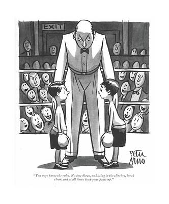 Boxer Drawing - You Boys Know The Rules. No Low Blows by Peter Arno
