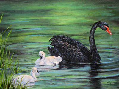 Painting - You Comin'--black Swan by Mary McCullah