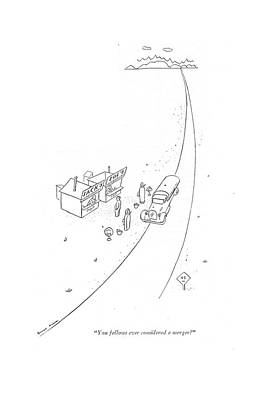 Long Street Drawing - You Fellows Ever Considered A Merger? by Garrett Price