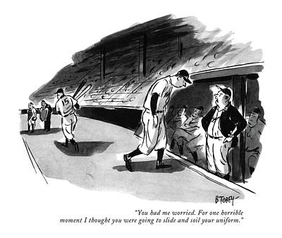 Dugout Drawing - You Had Me Worried. For One Horrible Moment by Barney Tobey