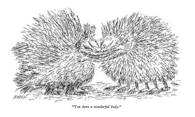Fuzzy Drawing - You Have A Wonderful Body by Edward Koren