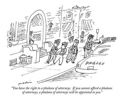 Patrol Car Drawing - You Have The Right To A Phalanx Of Attorneys.  If by Michael Maslin