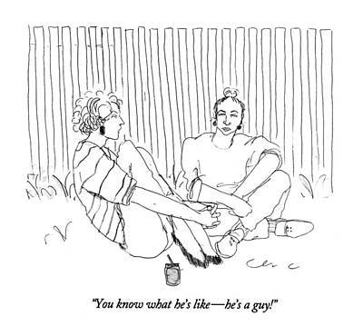 Cross Legged Drawing - You Know What He's Like - He's A Guy! by Richard Cline
