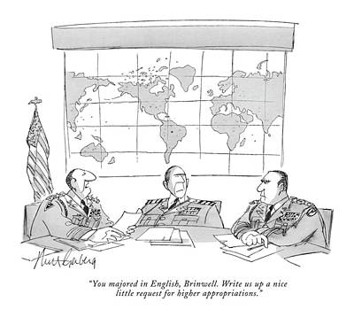Pentagon Drawing - You Majored In English by Mort Gerberg