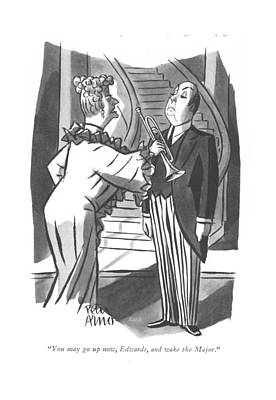 Drawing - You May Go Up Now by Peter Arno