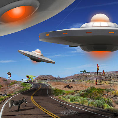 Ufo Photograph - You Never Know What You Will See On Route 66 2 by Mike McGlothlen