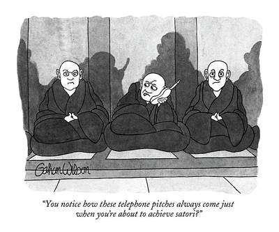 Monks Drawing - You Notice How These Telephone Pitches by Gahan Wilson
