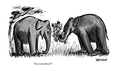 Elephants Drawing - You Remembered! by Frank Modell