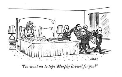 Science Fiction Drawing - You Want Me To Tape 'murphy Brown' For You? by Tom Cheney