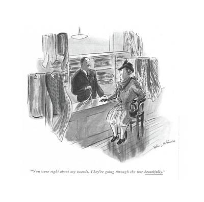 Clothes Clothing Drawing - You Were Right About My Tweeds. They're Going by Helen E. Hokinson
