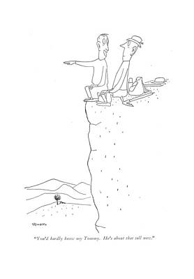 Edge Drawing - You'd Hardly Know My Tommy. He's About That Tall by Saul Steinberg