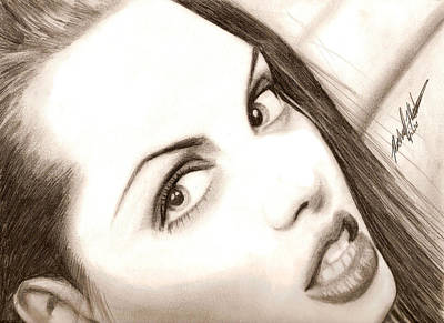 Drawing - Young Angelina Jolie by Michael Mestas