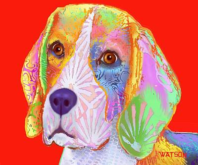 Digital Art - Young Beagle  by Marlene Watson