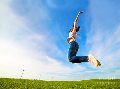 Expression Photograph - Young Beautiful Woman Jumping For Joy by Michal Bednarek